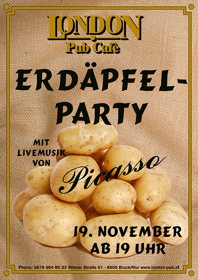 Erdäpfel-Party Plakat